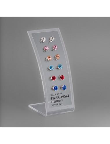 3700010 - Pendientes de plata con swarovski en expositor 8 mm, 6 pares