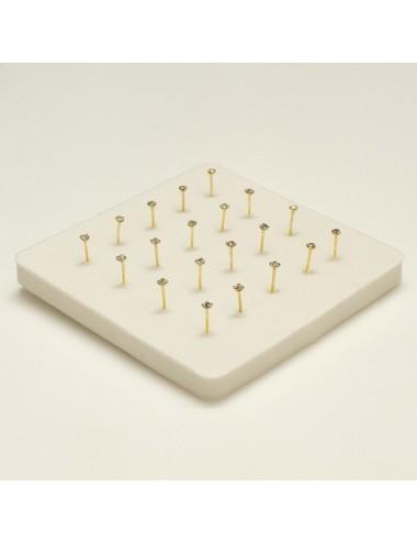 Piercing nariz pin de plata dorada con simil engarzado 1,5 mm, 20 unidades
