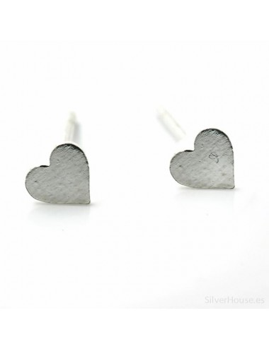 Tres pares de pendientes de plata mini corazón 5 mm