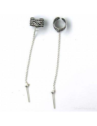 4600039 - Ear cuff o arete de plata para el hélix con cadena y bola de 3 mm, 2 unidades