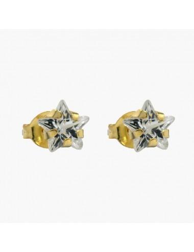 Pendiente chapado en oro circonita estrella 6 mm 6 pares