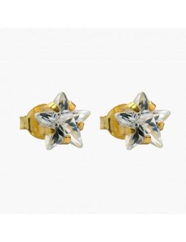 Pendiente chapado en oro circonita estrella 7 mm 6 pares