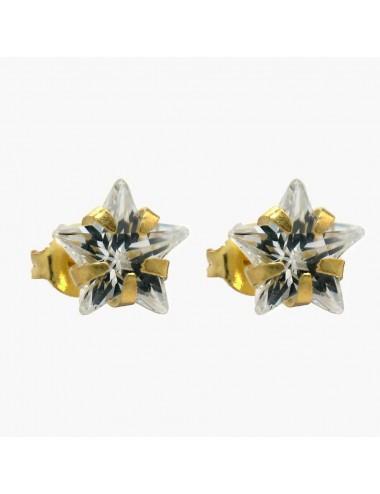 Pendiente chapado en oro circonita estrella 8 mm 6 pares