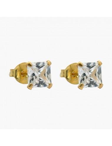 Pendiente chapado en oro circonita 5 x 5 mm 6 pares