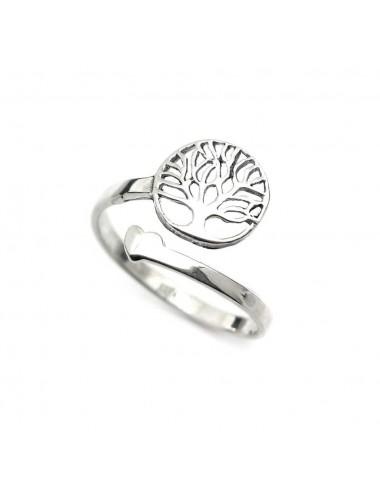 1300063 - Anillo de plata ajustable con árbol de la vida y corazón