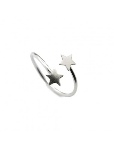 1300058 - Anillo de plata ajustable con dos estrellas
