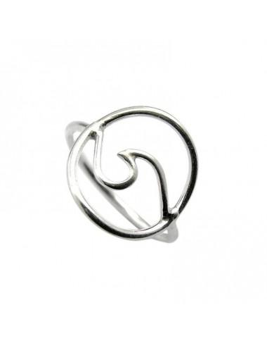 1300079 - Anillo de plata con forma de ola en circulo