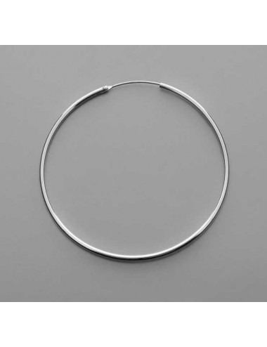 Pendiente plata aro liso 2,0 x 60 mm 1 par
