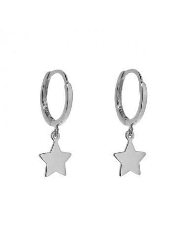 Pendiente plata rodiada aro con estrella