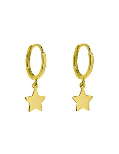 Pendiente plata bañada en oro aro con estrella