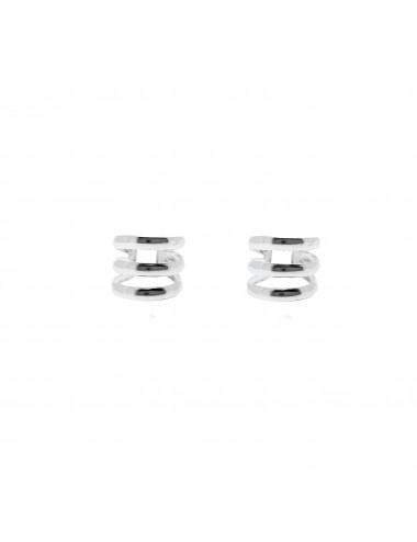 4600081 - Ear cuff de plata para el hélix 3 líneas, 2 unidades