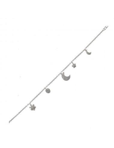Pulsera plata multicharm micro luna 17+3,5cm