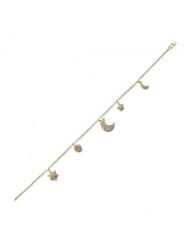 Pulsera plata baño oro multicharm micro luna 17+3,5cm