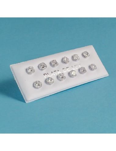 pendiente plata circonita 5 mm 6 pares