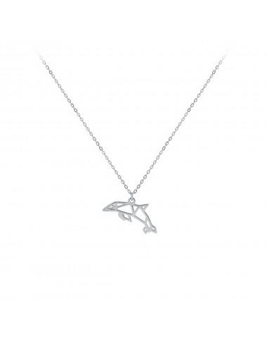 Gargantilla plata rodiada delfin origami