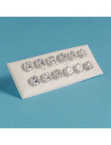 pendiente plata circonita 6 mm 6 pares