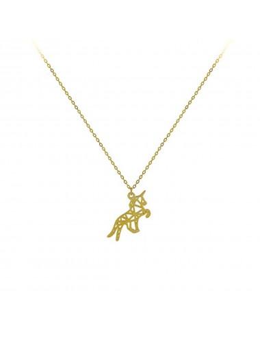 Gargantilla plata baño oro unicornio origami