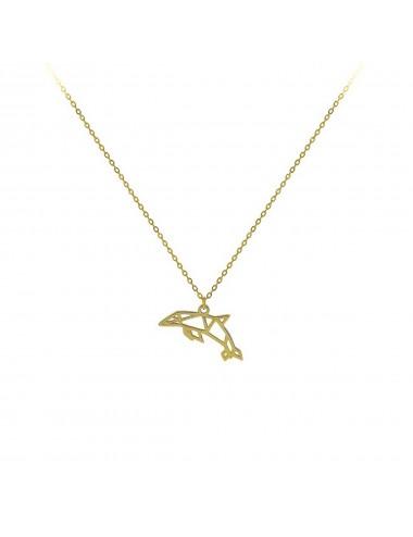Gargantilla plata baño oro delfin origami