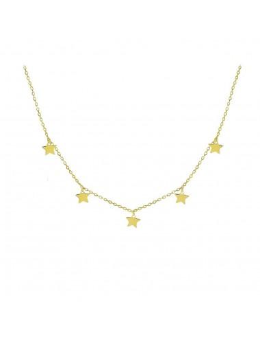 Gargantilla plata baño oro 5 estrellas