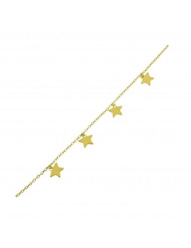 Pulsera plata baño oro 4 estrellas