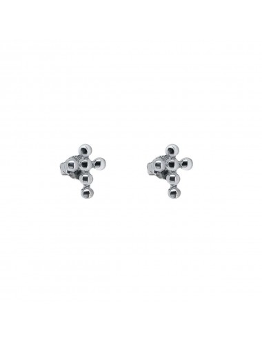 3800264 - Pendientes de plata rodiada mini con cruz, 1 par