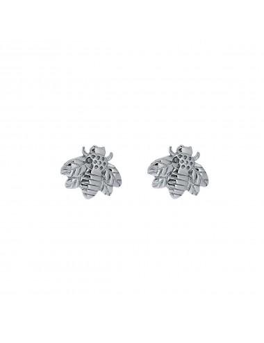 3800269 - Pendientes de plata rodiada mini abeja, 1 par
