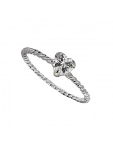 1300241 - Anillo de plata virado con circonita corazon