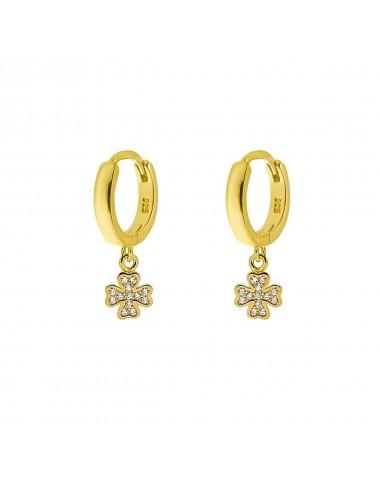 1210504 - Aros de plata bañados en oro con charm trébol micro setting