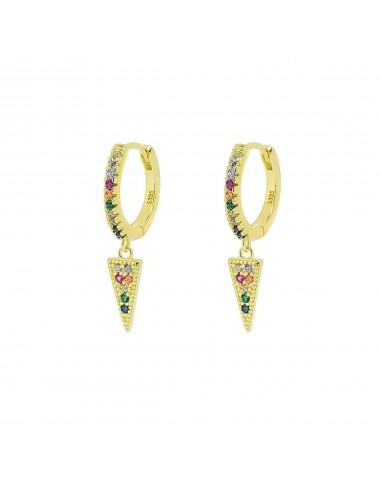 1210101 - Aros de plata bañados en oro con charm pincho micro setting multicolor