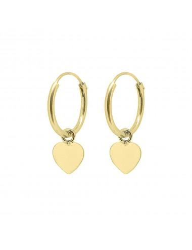 1210016 - Aros de 1,2 x 12 mm con baño en oro y charm corazón