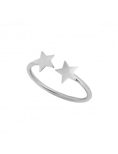 1300060 - Anillo de plata ajustable con dos estrellas