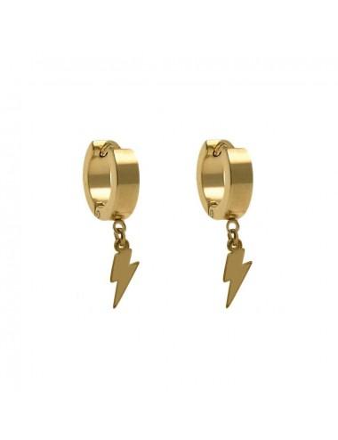 5600345 -Aros de acero dorado de 4 x 9 mm con rayo, 6 unidades