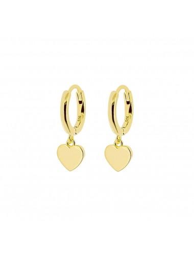 1210130 - Aros de plata bañados en oro con charm corazón