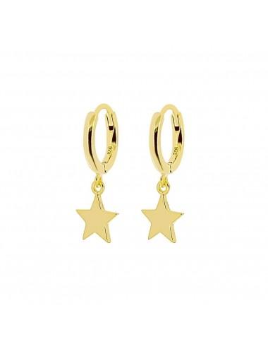 1210132 - Aros de plata bañados en oro con charm de estrella