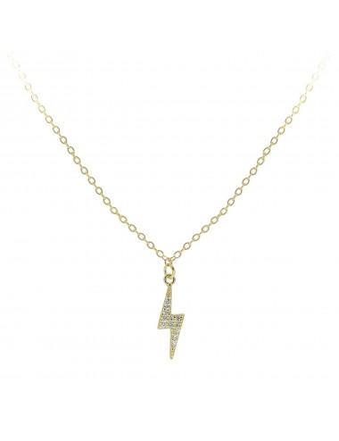 0910321 - Gargantilla de plata bañada en oro con rayo microsetting