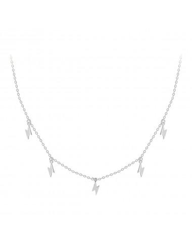 0900289 - Gargantilla de plata bañada en rodio con 5 rayos