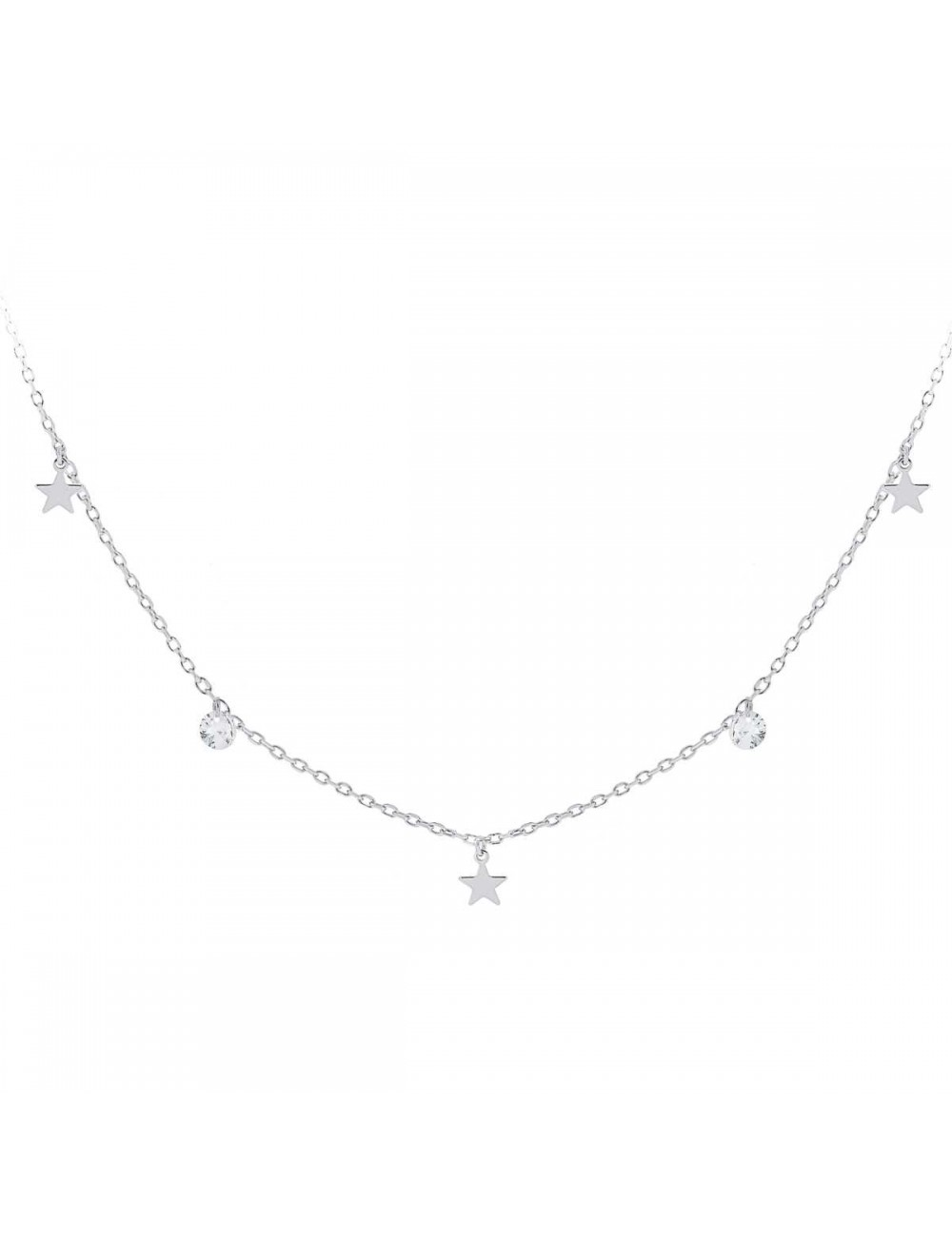 Gargantilla de plata con estrellas y circonitas