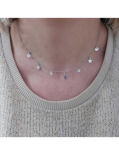 0910322- Gargantilla de plata bañada en oro 18 k con circonitas y estrellas