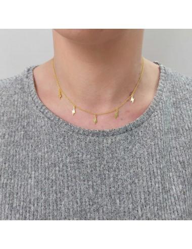 0910319 - Gargantilla de plata bañada en oro con 5 rayos