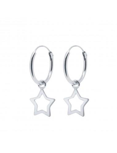 1200596 - Aros de plata de 1,2 x 12 mm con charm de estrella calada
