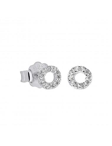 3600287 - Pendientes de plata circulo con micro setting, 1 par