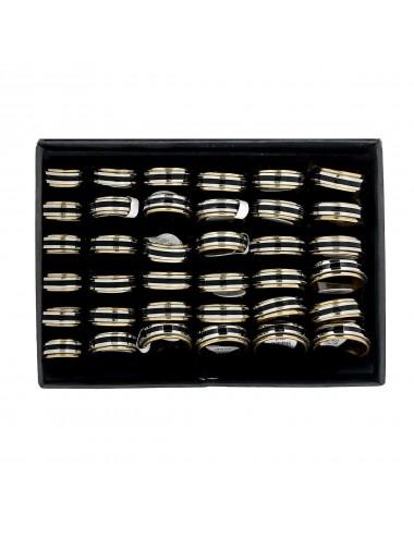 5300018 - Caja de 36 anillos anti estrés de acero tricolor