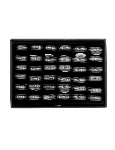5300020 - Caja de 36 anillos de acero negros greca