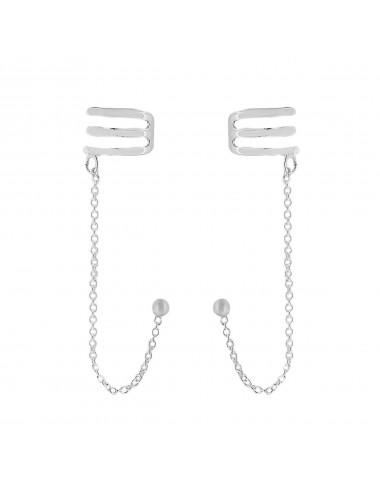 4600069 Ear cuffs de plata con cadena y forma de lineas