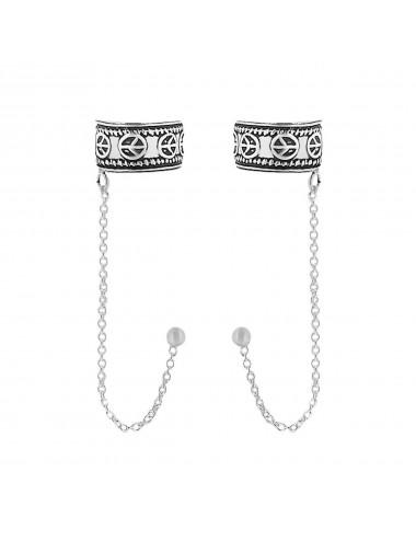 4600100 Ear cuffs de plata con cadena y símbolo de la p