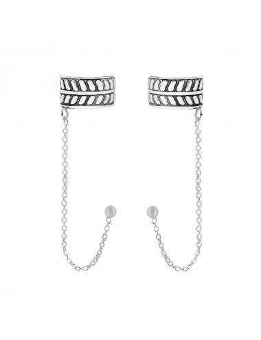 4600107 Ear cuffs de plata con cadena y simbología