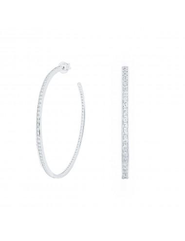 1200061 Aros de plata bañada en rodio con circonitas 45 mm