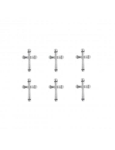 3800254 - Pendiente mini de plata con forma de cruz redonda, pack de 3 pares