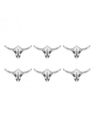 3800194 - Pendiente mini de plata con forma de búfalo, pack de 3 pares