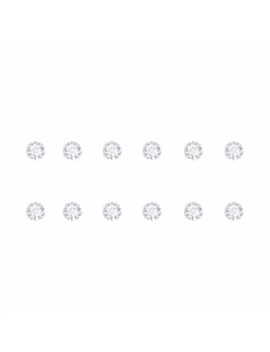 2600005 - Pendientes de plata simil blanco 3 mm, 6 Pares